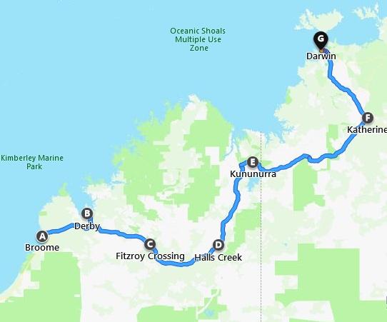 Karte Broome nach Darwin Tour