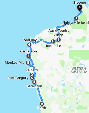Karte Perth nach Broome Tour