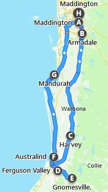 Map Perth to Ferguson Valley Tour